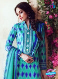 SC 13546 Green and Blue Cambric Cotton Embroiderd Party Wear Un Stitiched Fancy Long Straight Suit