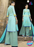 Omtex 1209 A Sky Blue and Yellow Lawn Cotton Plazzo Suit
