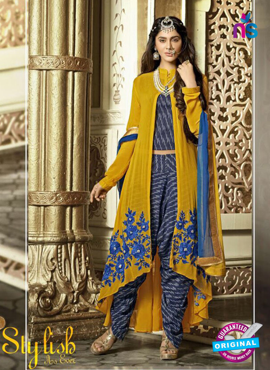 NS11097 Yellow and Dark Blue Faux Georgette Party Wear Designer Suit