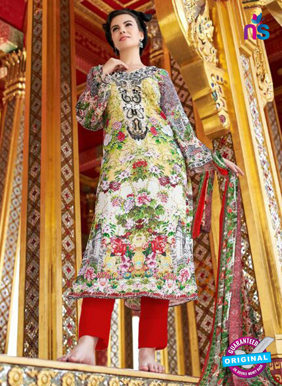SC 12544 Multicolor and Red Digital Printed Lawn Cotton with Embroidered Party Wear Pakistani Suit