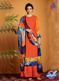 Kimora 120 Orange Cotton Satin Fancy Designer Plazo Suit
