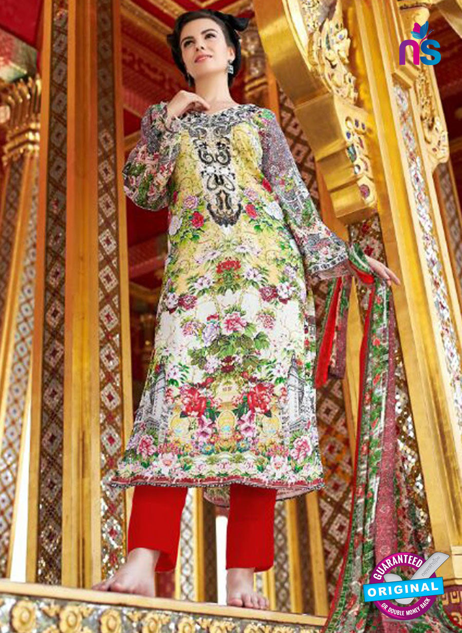 SC 12667 Multicolor and Red Lawn Cotton Embroidered  Suit