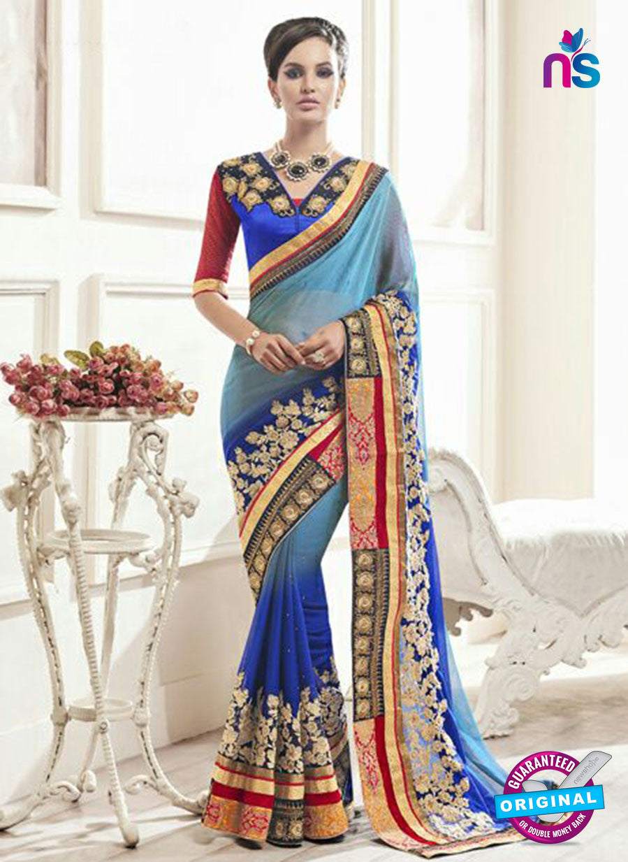 AZ 2148 Sky Blue Georgette Fancy Party Wear Saree