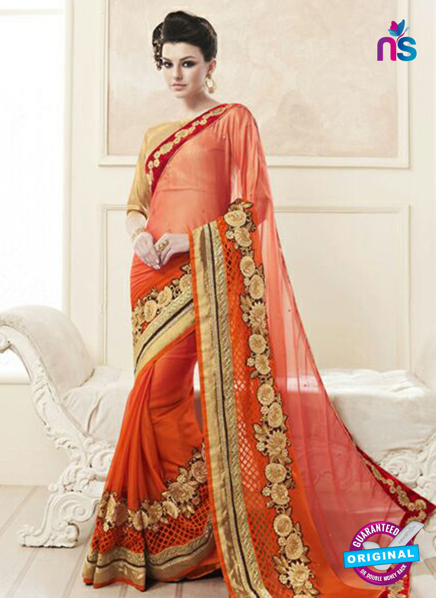 AZ 2149 Orange Georgette Fancy Party Wear Saree