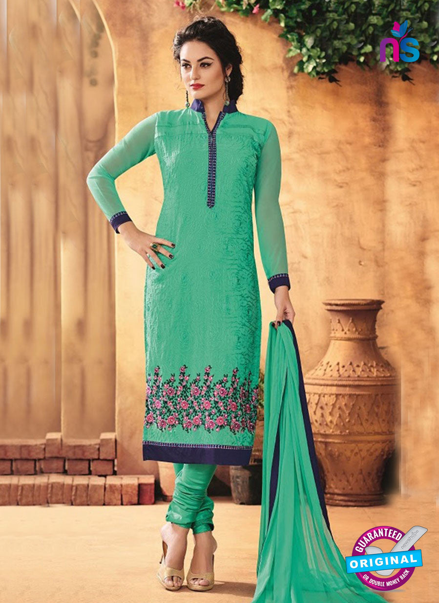 SC 12317 Sea Green and Blue Party Wear Faux Georgette Straight Suit
