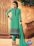 NS10189 Green Party Wear faux Georgette Straight Suit