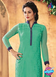 SC 12317 Sea Green and Blue Party Wear Faux Georgette Straight Suit Online