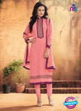 NS10190 Pink Party Wear faux Georgette Straight Suit
