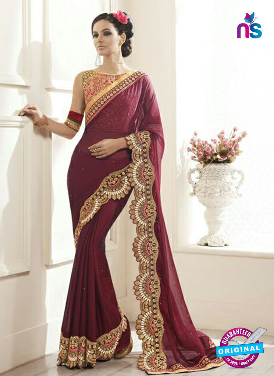 AZ 2153 Maroon Orgette Fancy Party Wear Saree