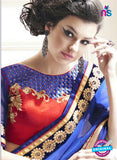 AZ 2156 Royal Blue Georgette Fancy Party Wear Saree - Sarees - NEW SHOP