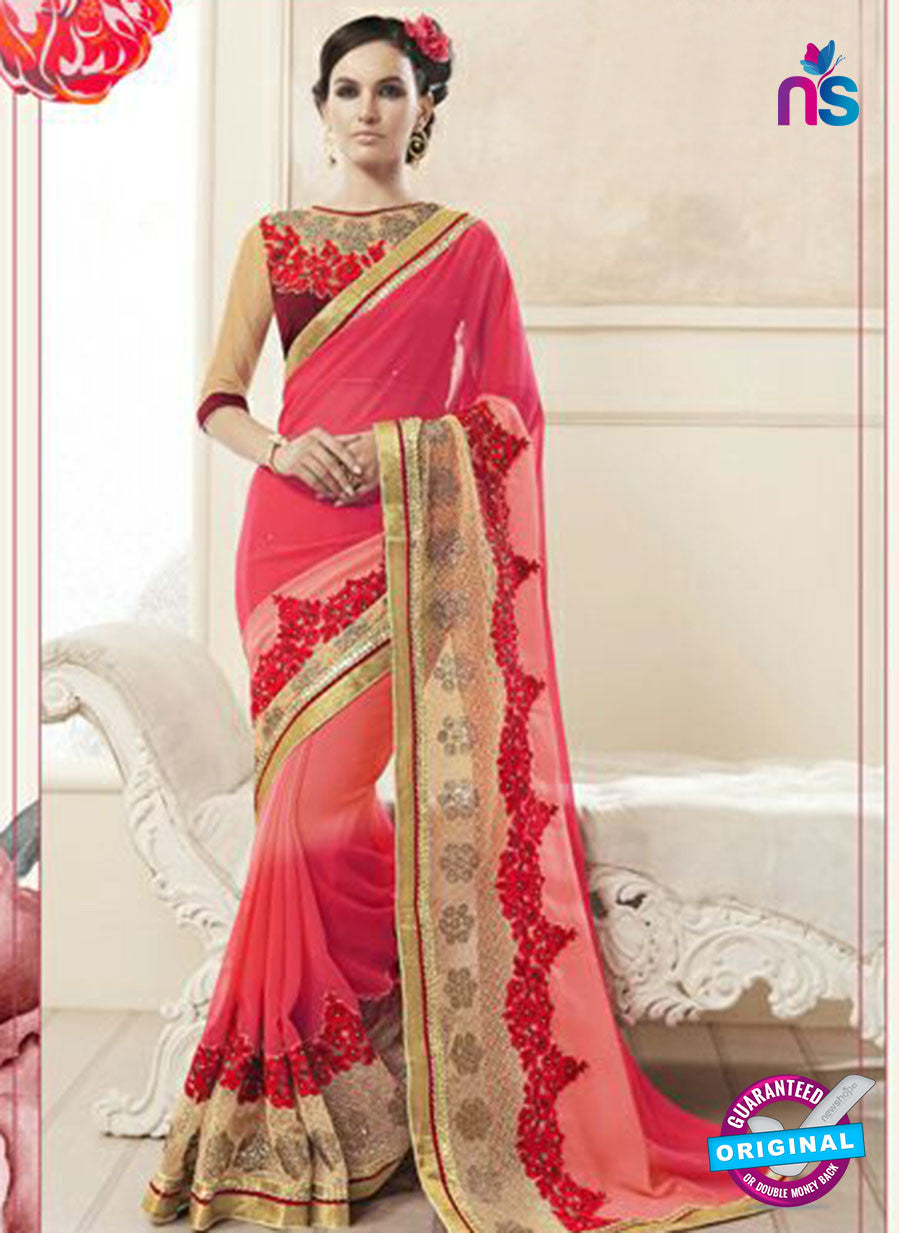 AZ 2158 Peach and Red Georgette Fancy Party Wear Saree
