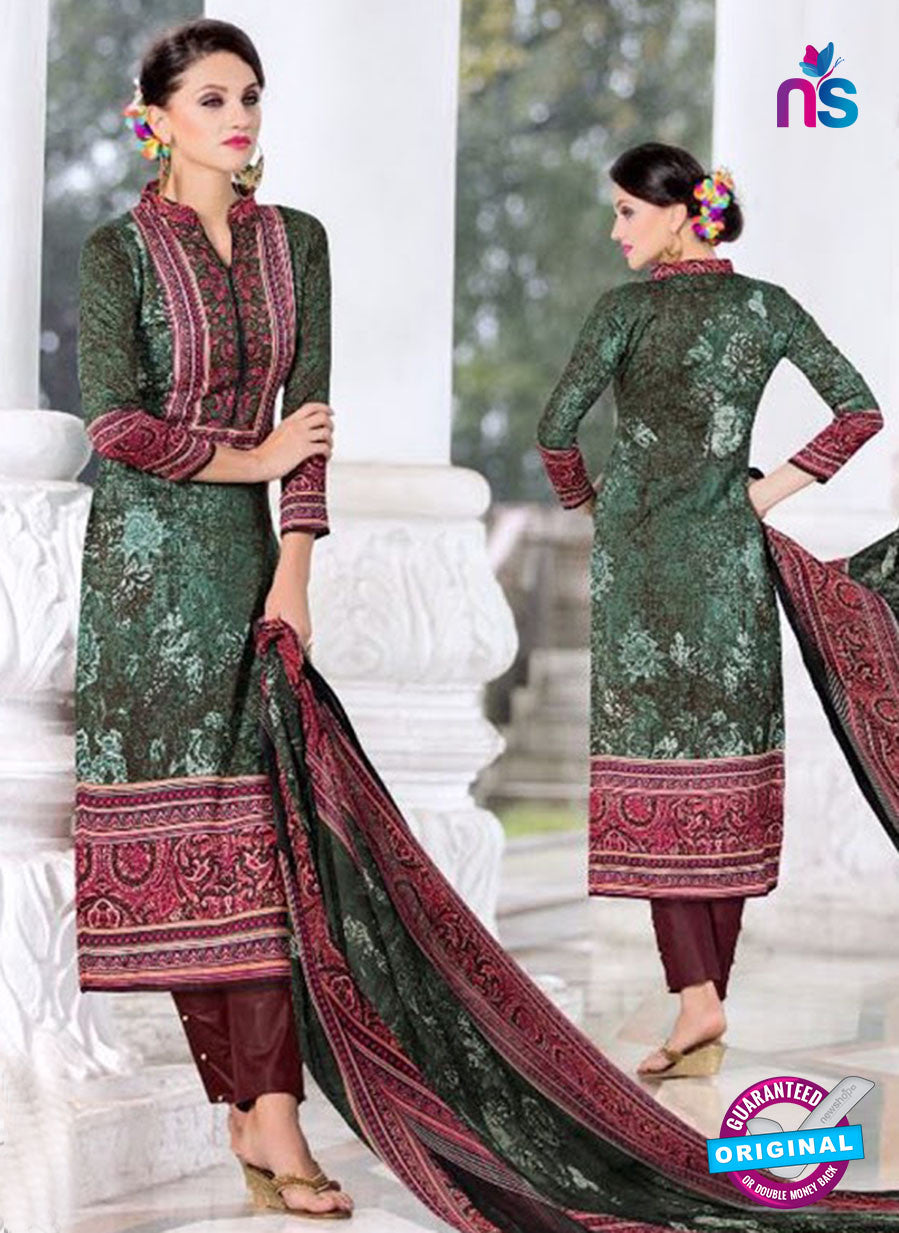 SC 14023 Green and Brown Exclusive Fancy Functional Wear Straight Plazo Suit
