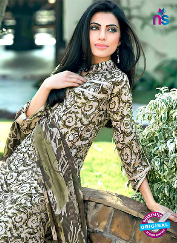 SC 12976 Green and Beige Camric Cotton Print Pakistani Suit