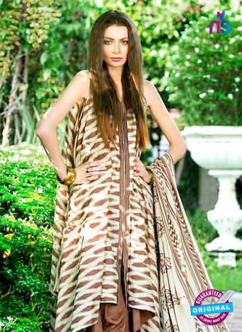 SC 12977 Brown and Beige Camric Cotton Print Pakistani Suit