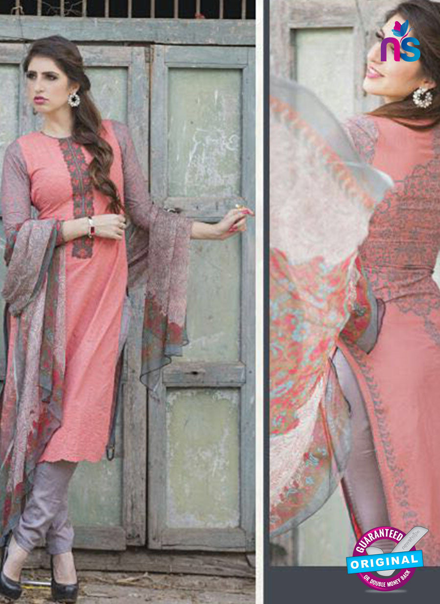 Ganga 121 Peach and Grey Embroidered Cotton Suit