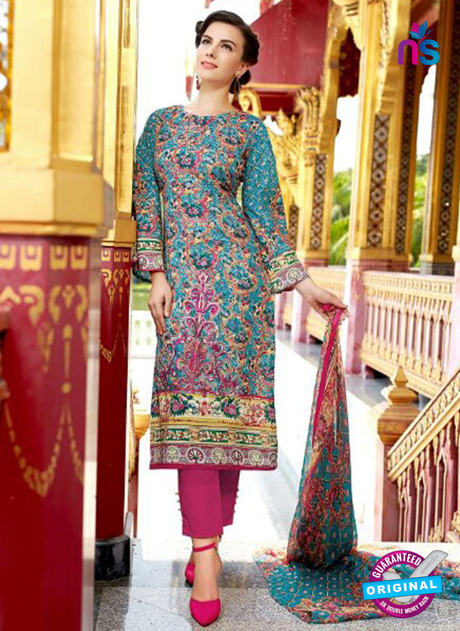 SC 12551 Blue and Magenta Digital Printed Lawn Cotton with Embroidered Party Wear Pakistani Suit