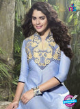NS10517 Blue and Beige Designer Linen Kurtis
