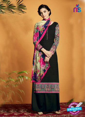 Kimora 121 Black Cotton Satin Fancy Designer Plazo Suit