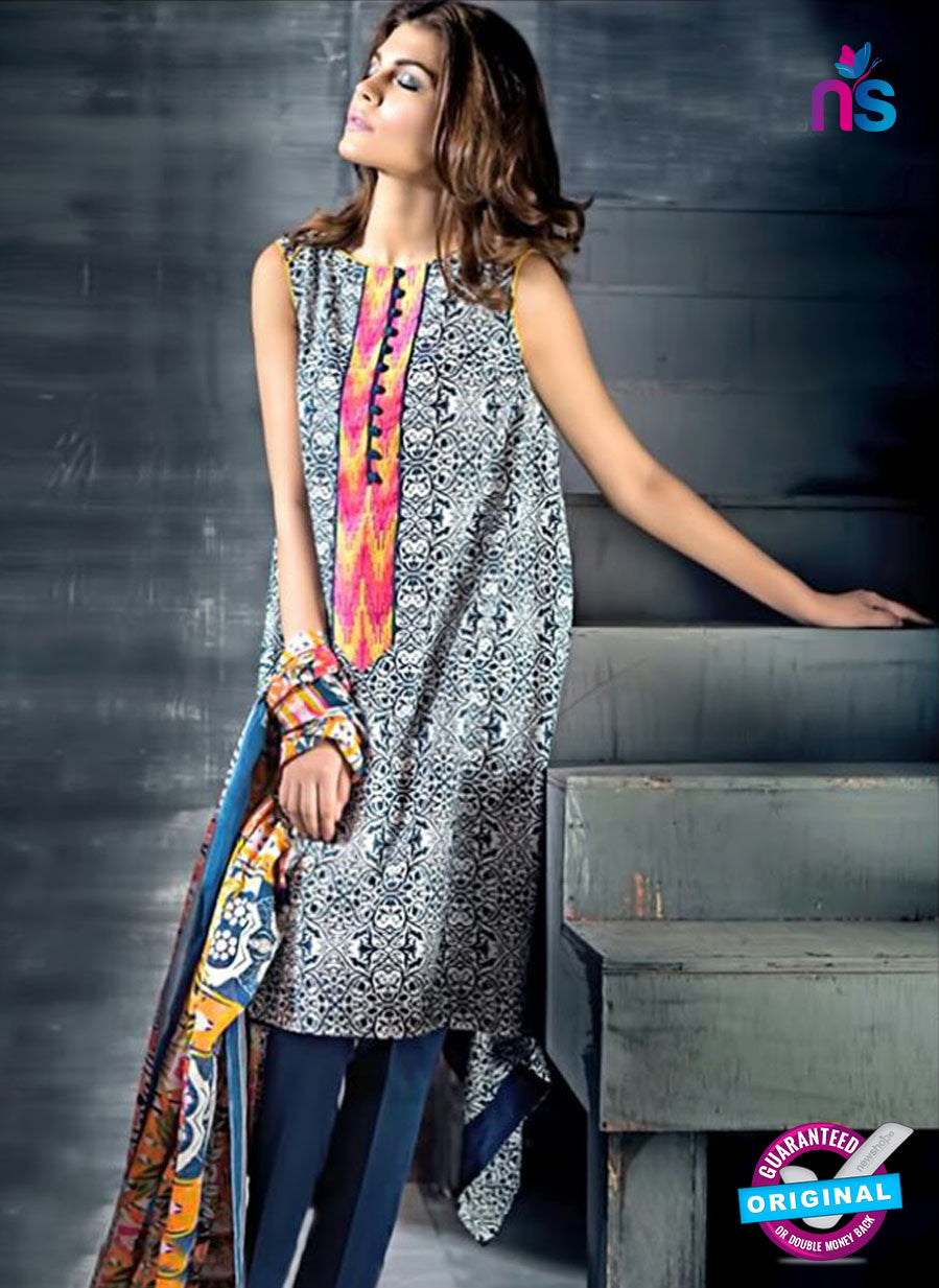 SC 12384 White and Blue Printed Cambric Cotton Suit