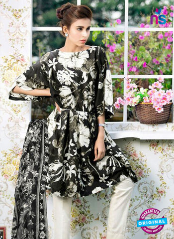 SC 12380 Black and White Printed Cambric Cotton Suit