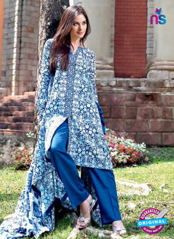 SC 12383 Blue  Printed Cambric Cotton Suit