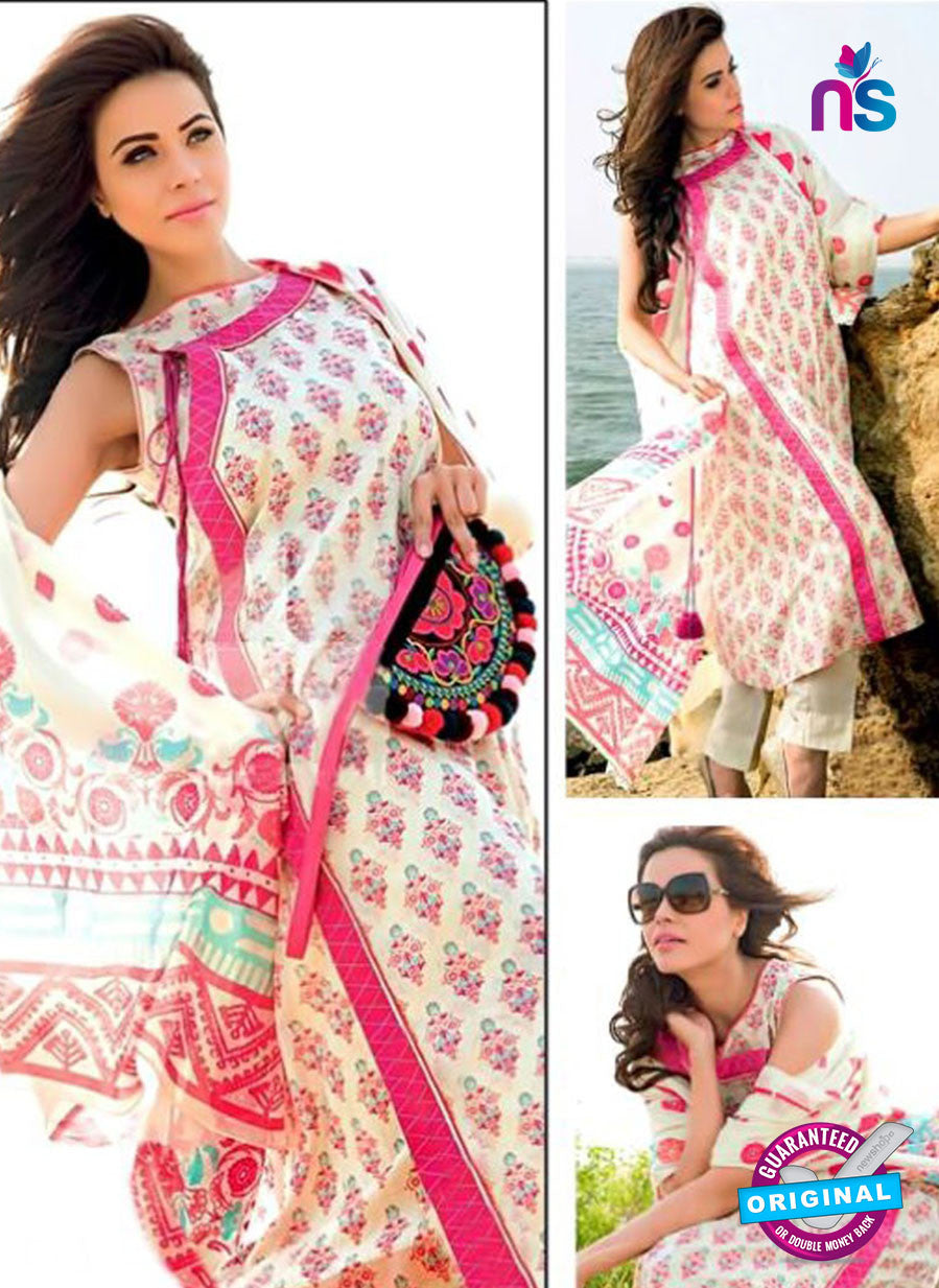 SC 12381 Beige and Pink Printed Cambric Cotton Suit