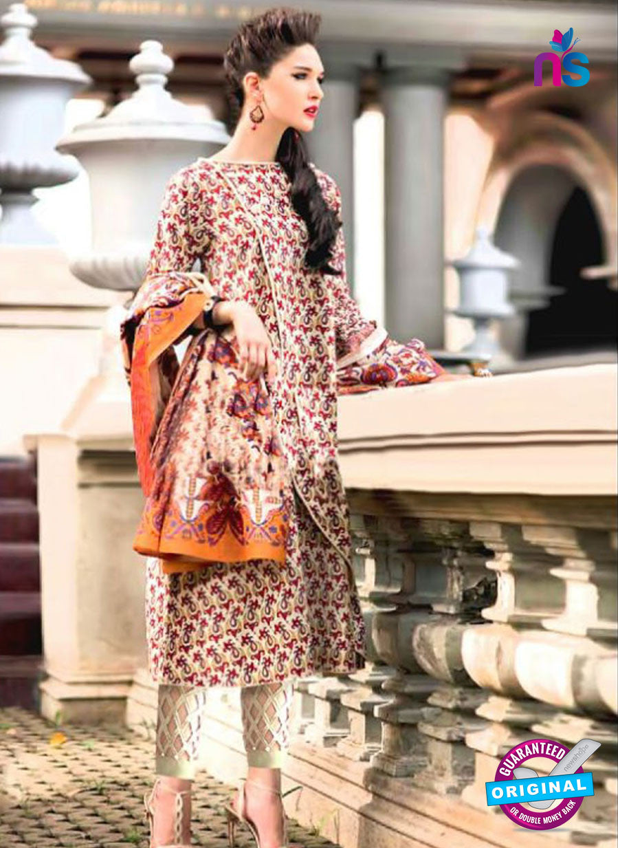 SC 12382 Multicolor and Beige Printed Cambric Cotton Suit
