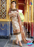 SC 12729 Brown and Beige Lawn Cotton Embroidered Suit