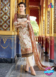 SC 12552 Brown and Beige Digital Printed Lawn Cotton with Embroidered Party Wear Pakistani Suit