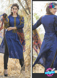 Ganga 122 Blue and Black Embroidered Cotton Suit