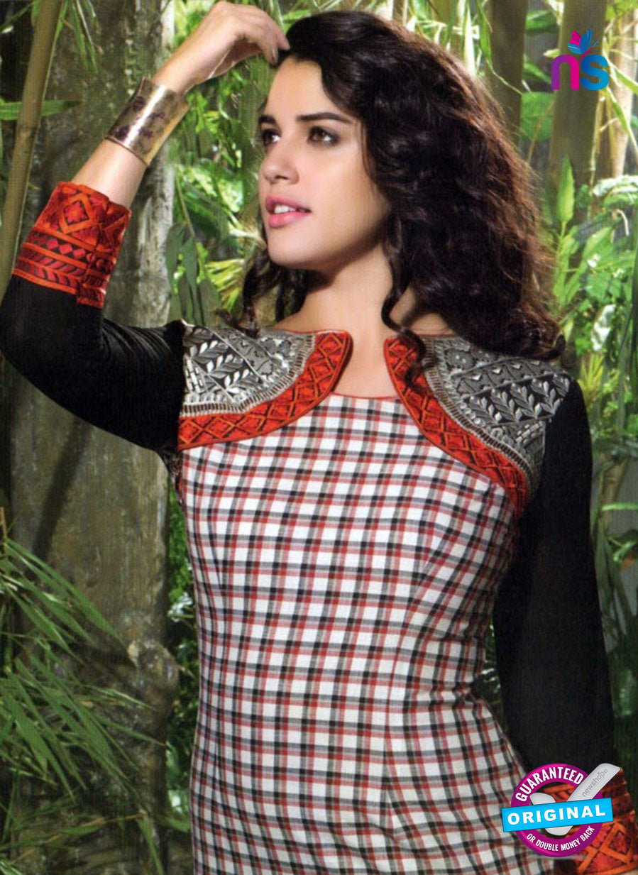 NS10518 Black and Red Designer Linen Kurtis