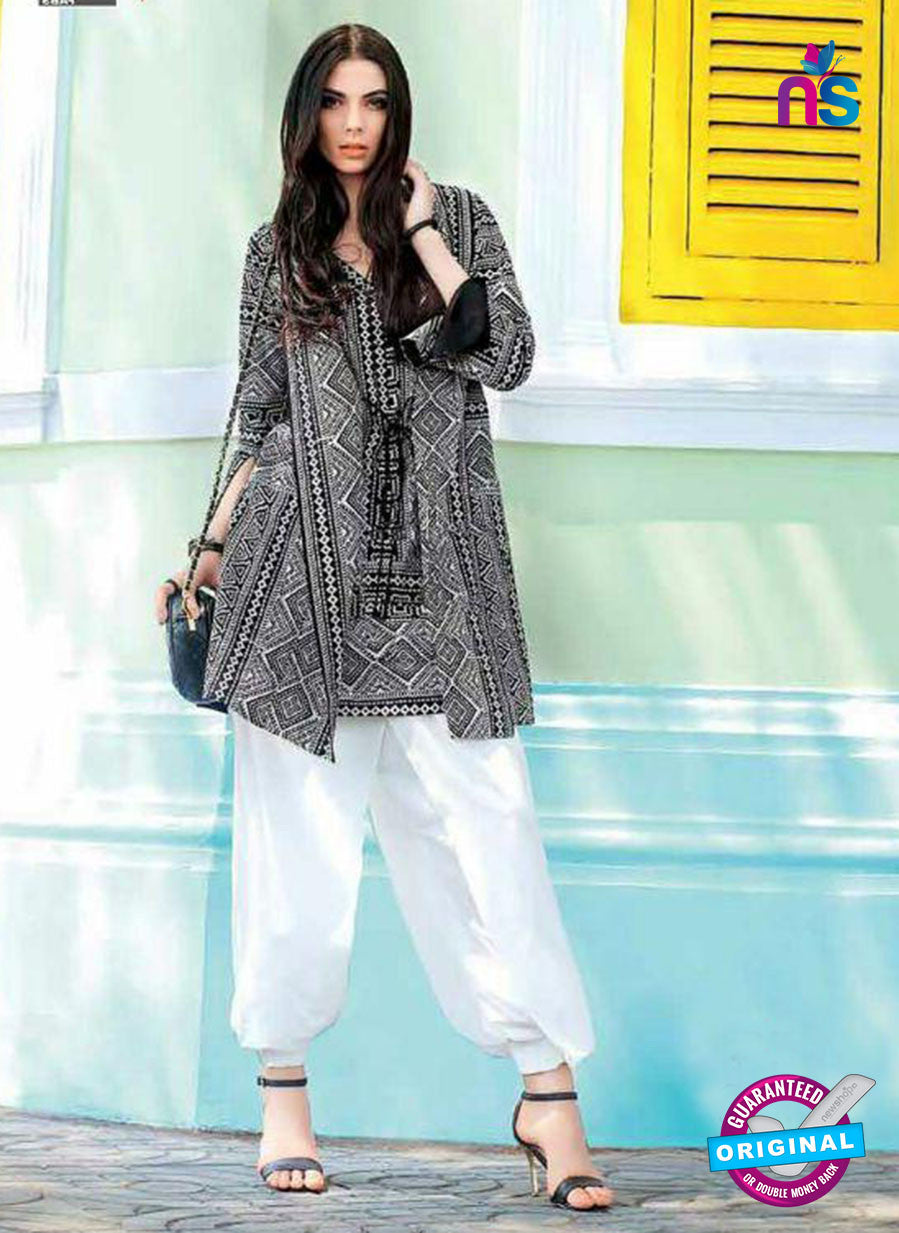 SC 13736 Black Glace Cotton Designer Fancy Exclusive Un-stitched Pakistani Straight Salwar Suit
