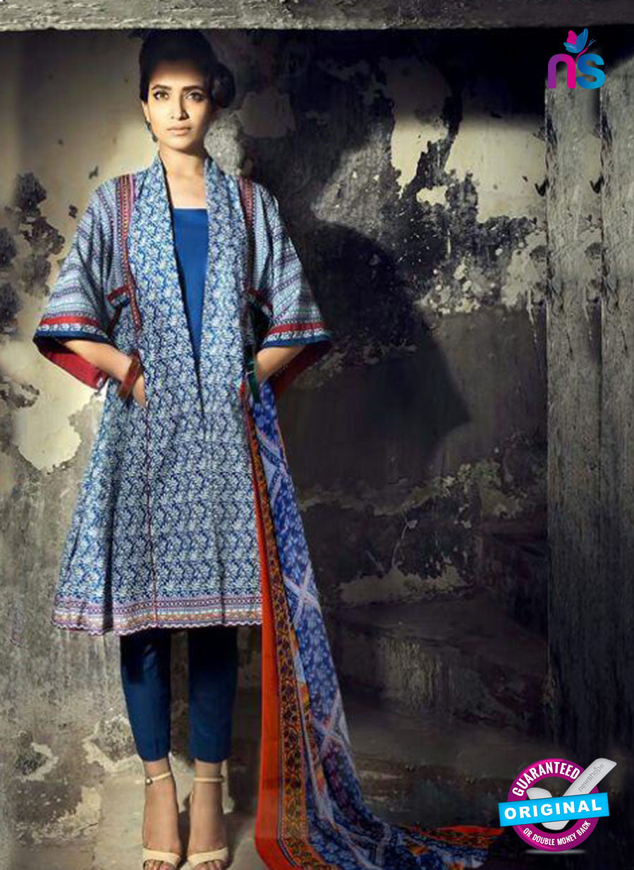 SC 13733 Blue Glace Cotton Designer Fancy Exclusive Un-stitched Pakistani Straight Salwar Suit