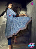 SC 13733 Blue Glace Cotton Designer Fancy Exclusive Un-stitched Pakistani Straight Salwar Suit Online