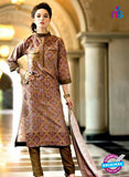 SC 13730 Brown Glace Cotton Designer Fancy Exclusive Un-stitched Pakistani Straight Salwar Suit
