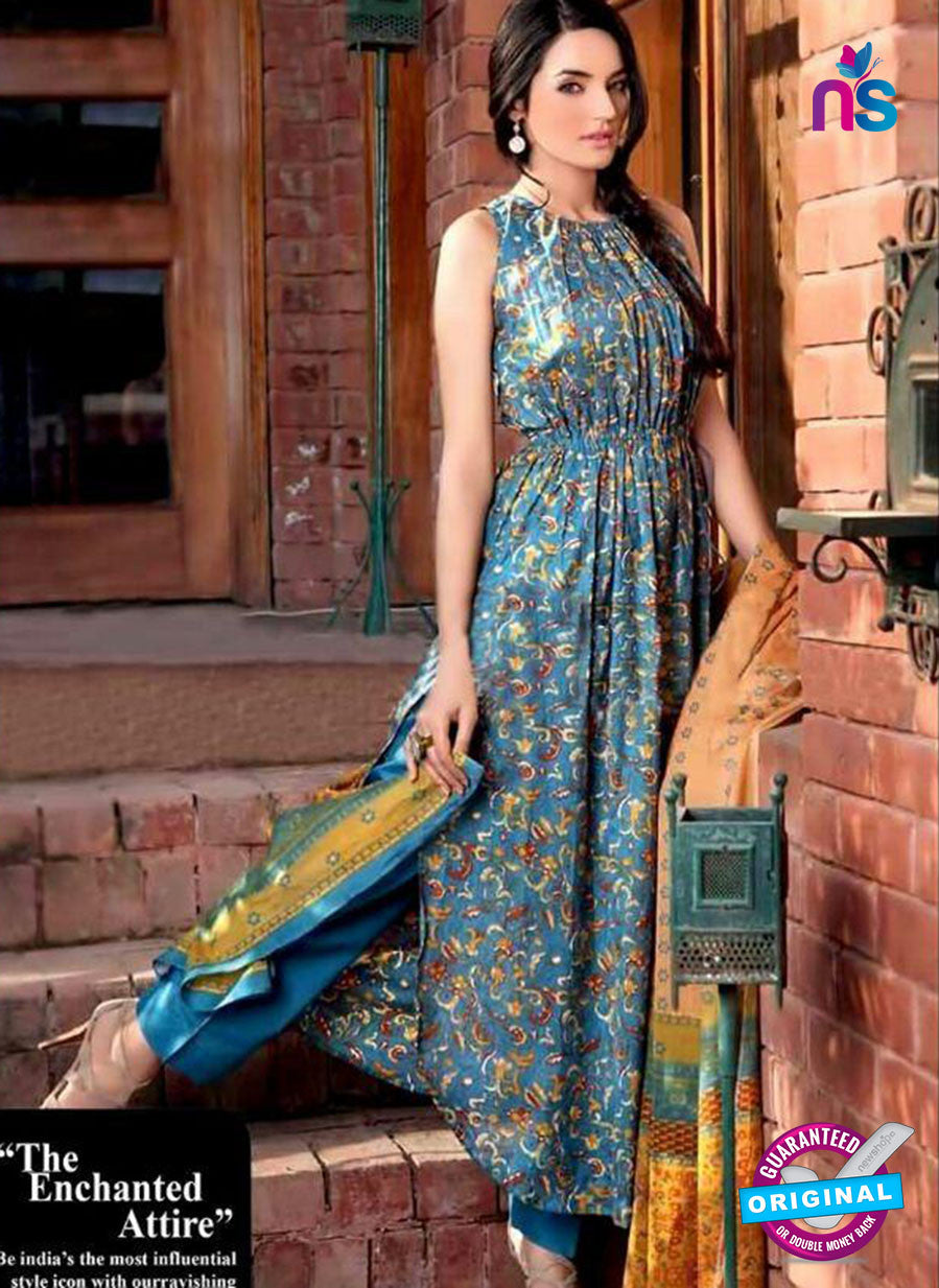 SC 13732 Sky Blue Glace Cotton Designer Fancy Exclusive Un-stitched Pakistani Straight Salwar Suit