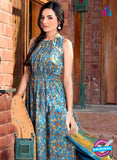 SC 13732 Sky Blue Glace Cotton Designer Fancy Exclusive Un-stitched Pakistani Straight Salwar Suit Online