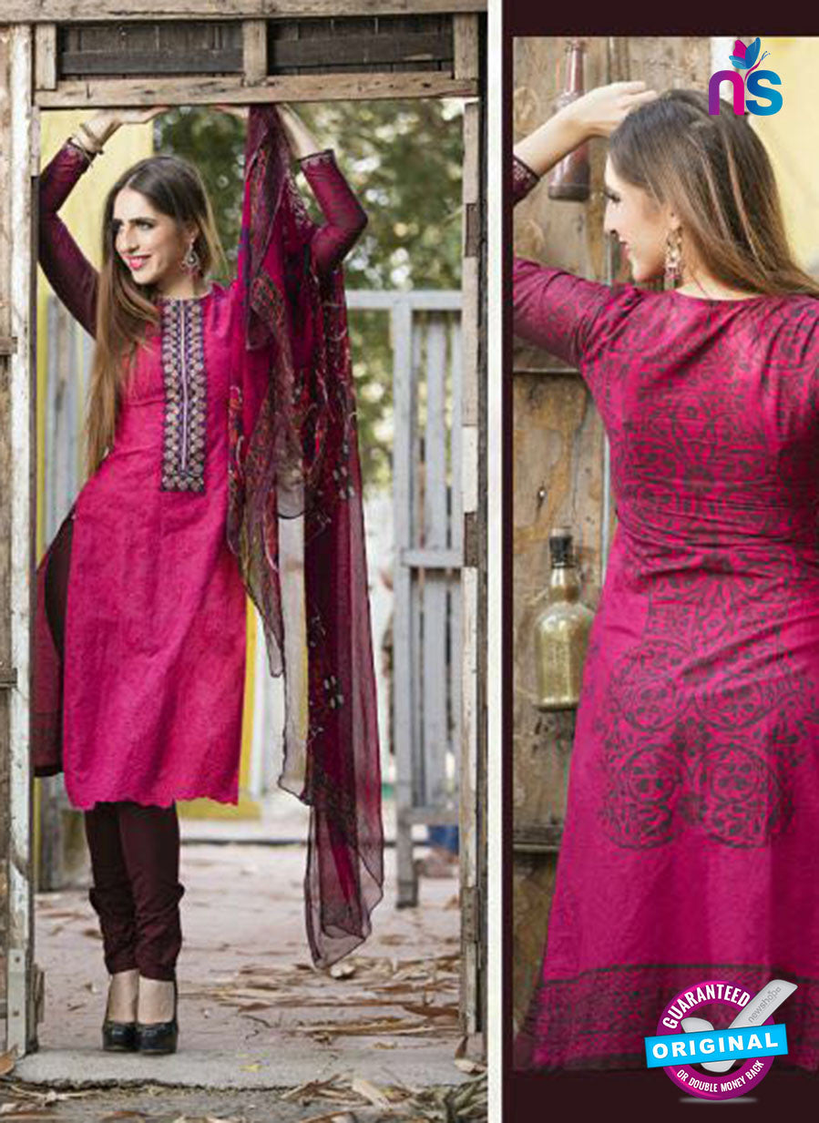 Ganga 123 pink and brown Embroidered Cotton Suit