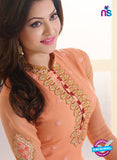 AZ 2297 Peach Embroidered Georgette Party Wear Suit - Salwar Suits - NEW SHOP