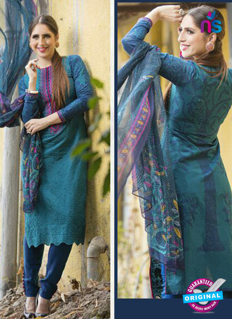 Ganga 124 Sky Blue Embroidered Cotton Suit
