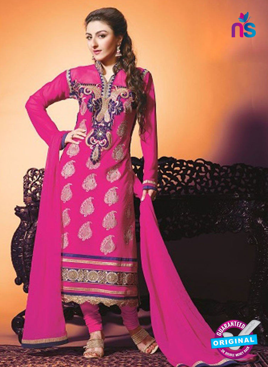 NS10449 Pink Color Georgette Straight Suit
