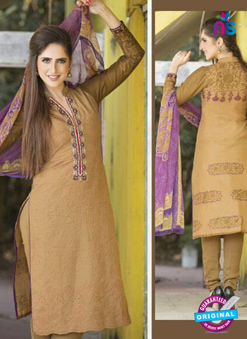 Ganga 125 Brown and Purple Embroidered Cotton Suit