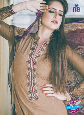 Ganga 125 Beige and Purple Embroidered Cotton Suit