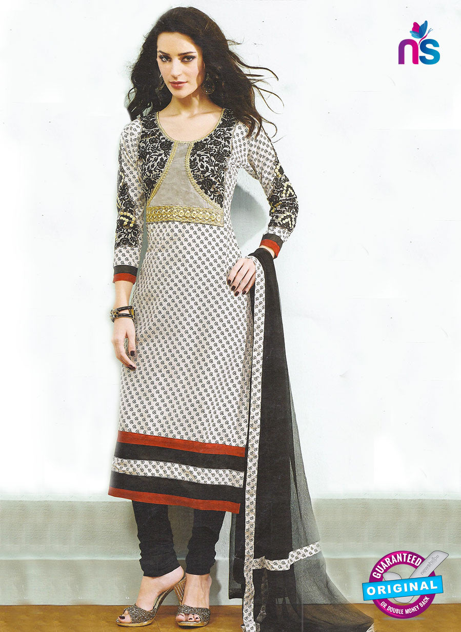 SC 12780 Black and White Embroidered Cotton Party Wear Suit
