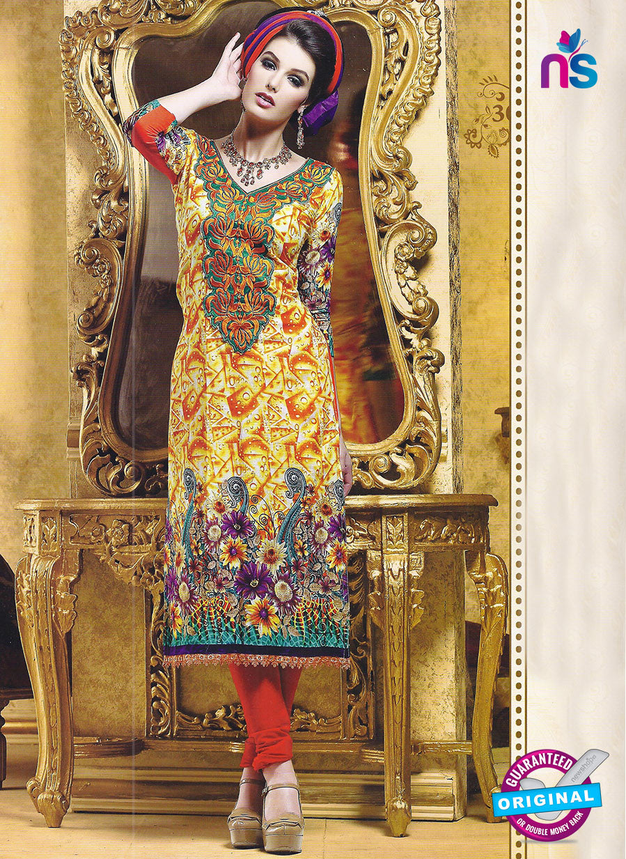 SC 12781 Multicolor and Red Embroidered Cotton Suit
