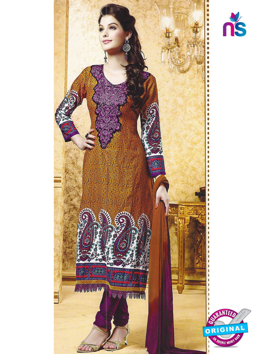 SC 12783 Brown and Purple Embroidered Cotton Suit