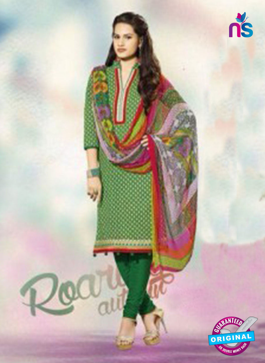 SC 12786 Green Embroidered Cotton Suit