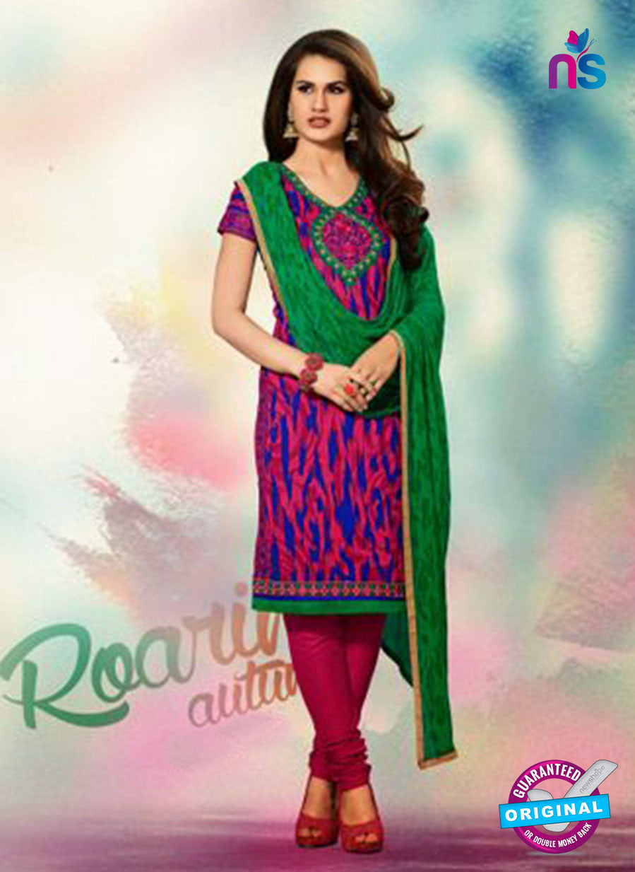 SC 12787 Pink and Green Embroidered Cotton Suit