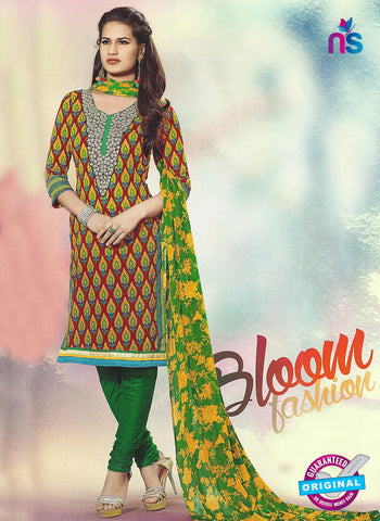 SC 12788 Brown and Green Embroidered Cotton Suit