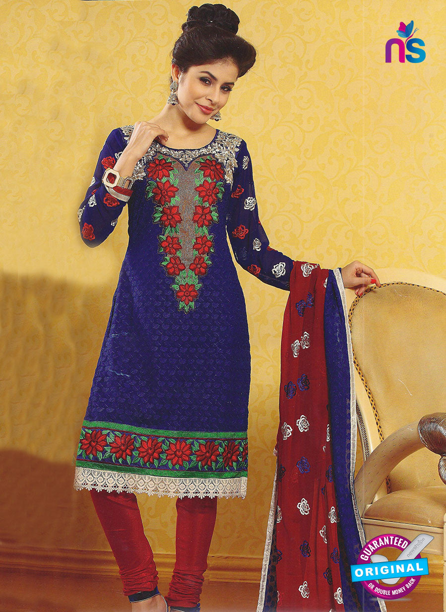 SC 12791 Blue and Maroon Embroidered Georgette Party Wear Suit